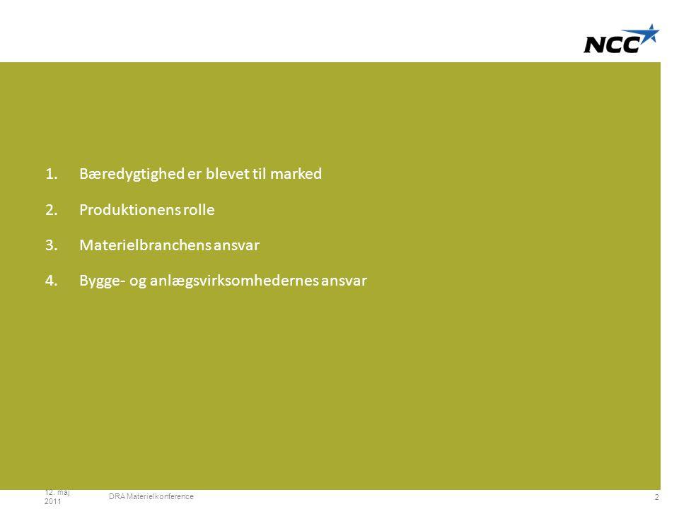 Divider slide Lime 1.Bæredygtighed er blevet til marked 2.Produktionens rolle 3.Materielbranchens ansvar 4.Bygge- og anlægsvirksomhedernes ansvar 12.