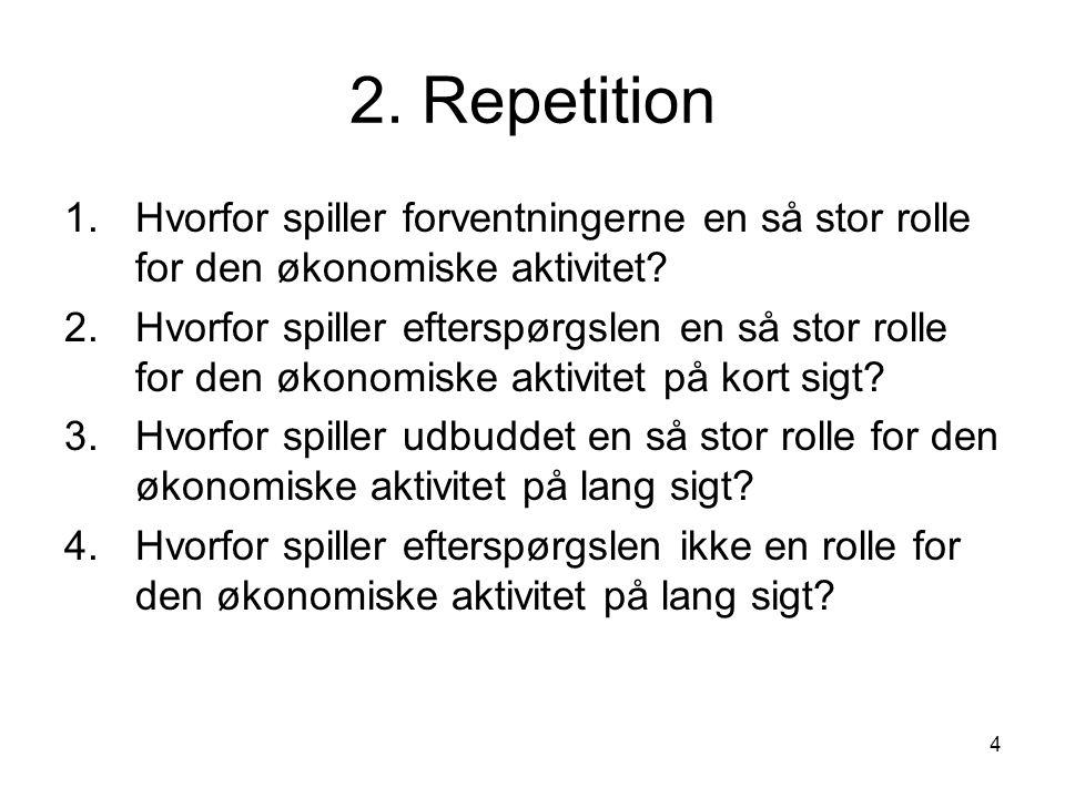 4 2. Repetition 1.Hvorfor spiller forventningerne en så stor rolle for den økonomiske aktivitet.