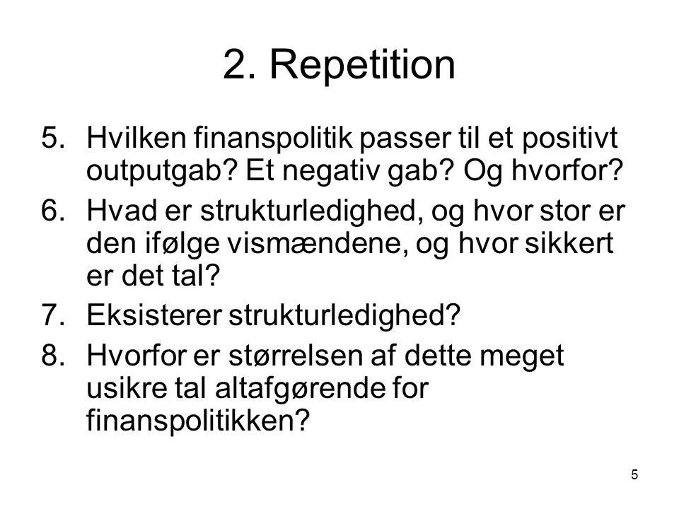 5 2. Repetition 5.Hvilken finanspolitik passer til et positivt outputgab.