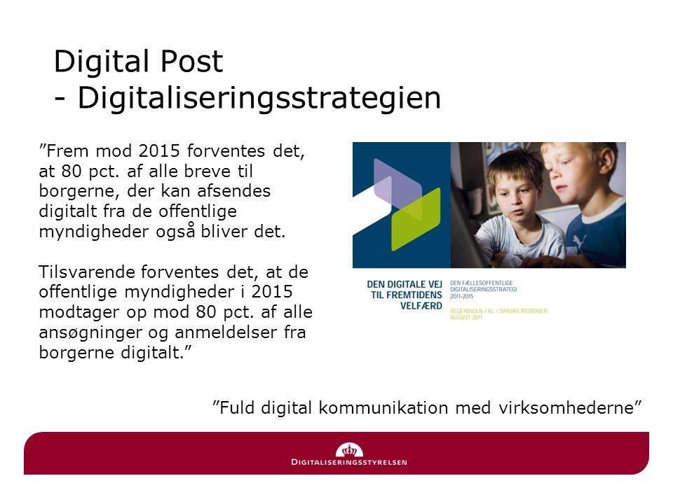 Lov om Offentlig Digital Post En del af den fællesoffentlige digitaliseringsstrategi 2011-2015 Loven blev vedtaget i juni og trådte i kraft 1.