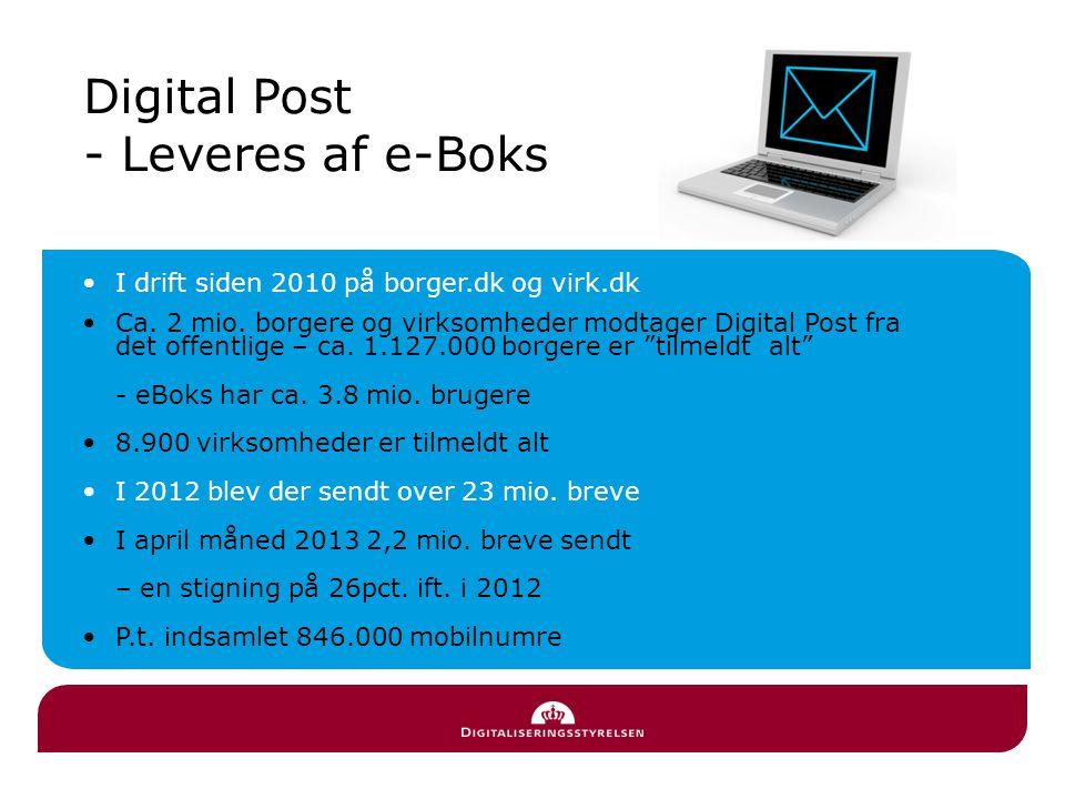 I drift siden 2010 på borger.dk og virk.dk Ca. 2 mio.