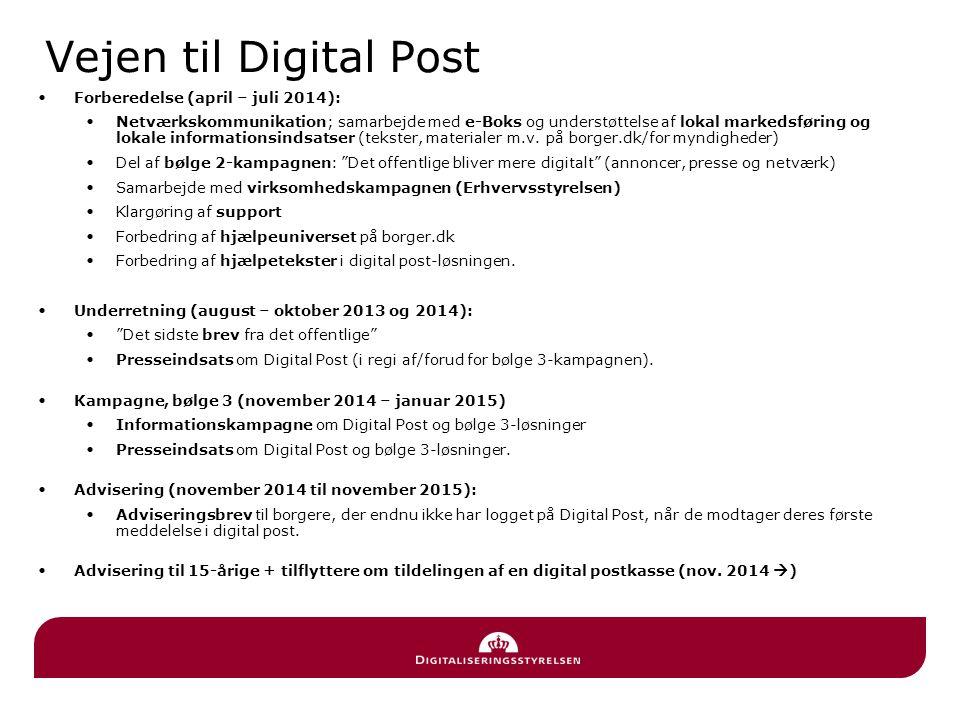 Vejen til Digital Post Forberedelse (april – juli 2014): Netværkskommunikation; samarbejde med e-Boks og understøttelse af lokal markedsføring og lokale informationsindsatser (tekster, materialer m.v.