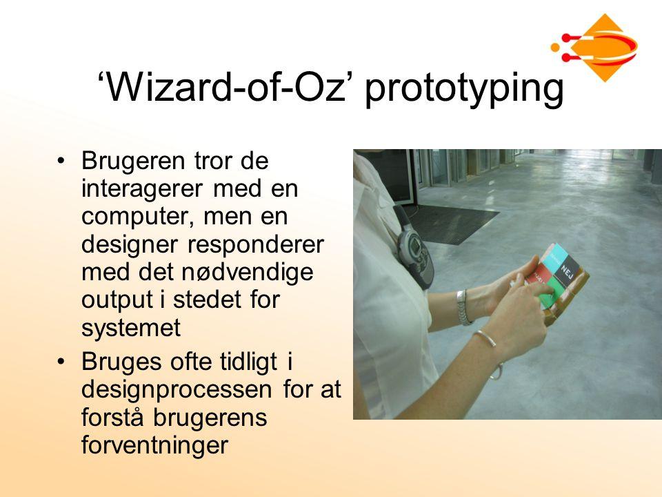 'Wizard-of-Oz' prototyping Brugeren tror de interagerer med en computer, men en designer responderer med det nødvendige output i stedet for systemet Bruges ofte tidligt i designprocessen for at forstå brugerens forventninger