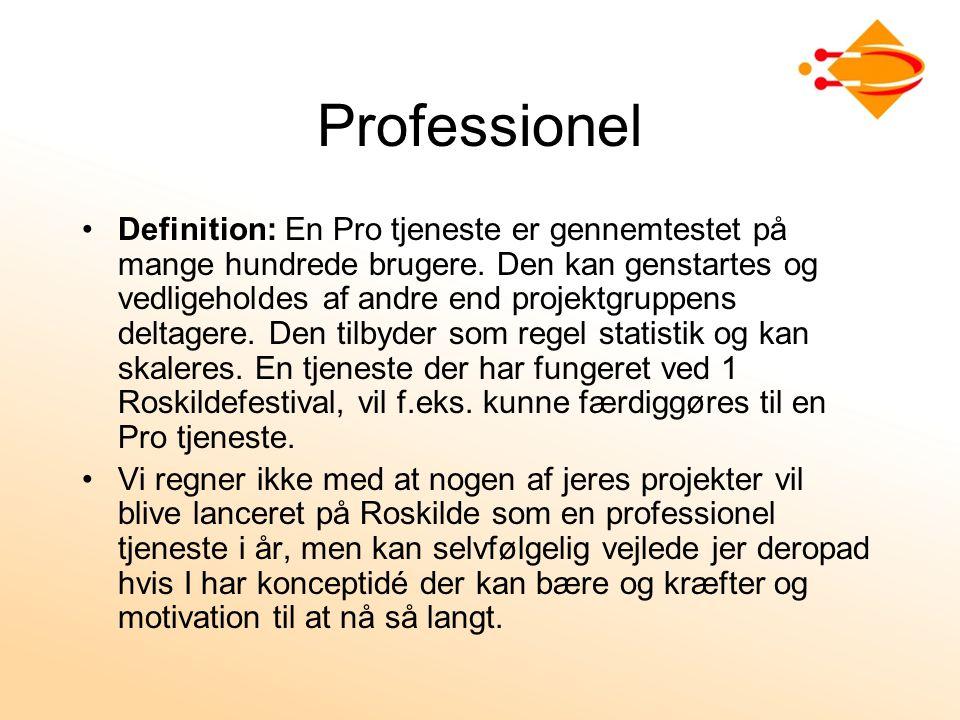 Professionel Definition: En Pro tjeneste er gennemtestet på mange hundrede brugere.