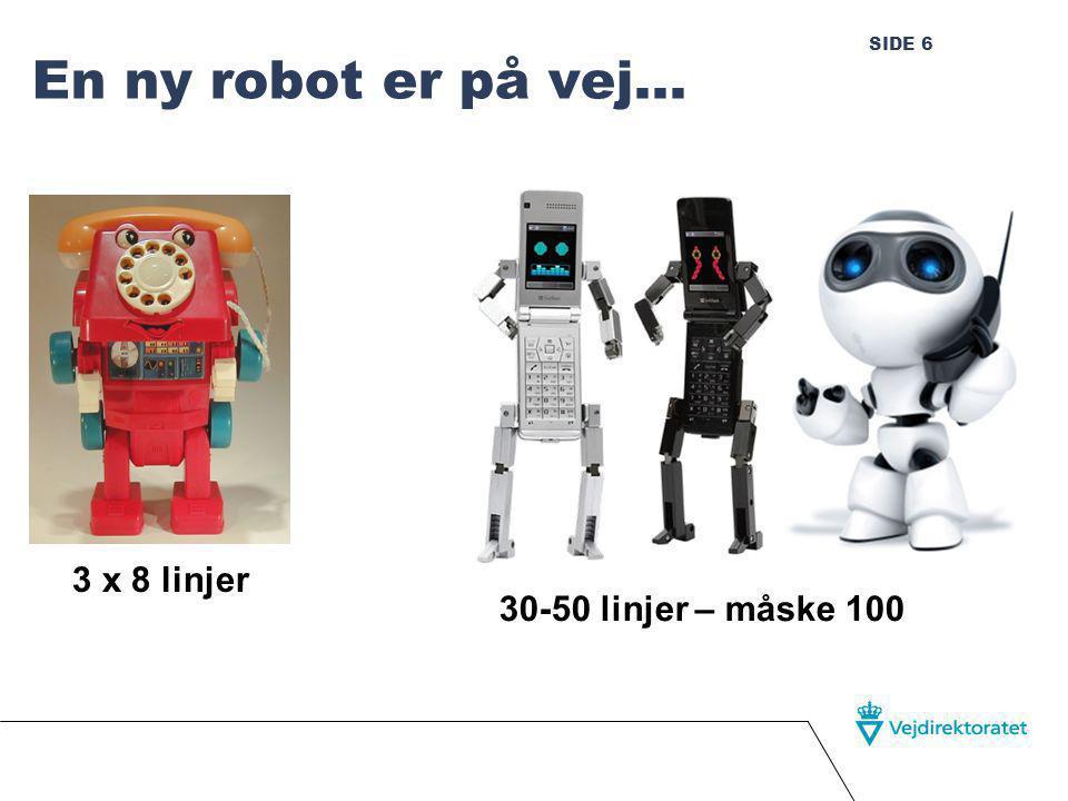 SIDE 6 En ny robot er på vej… 3 x 8 linjer 30-50 linjer – måske 100