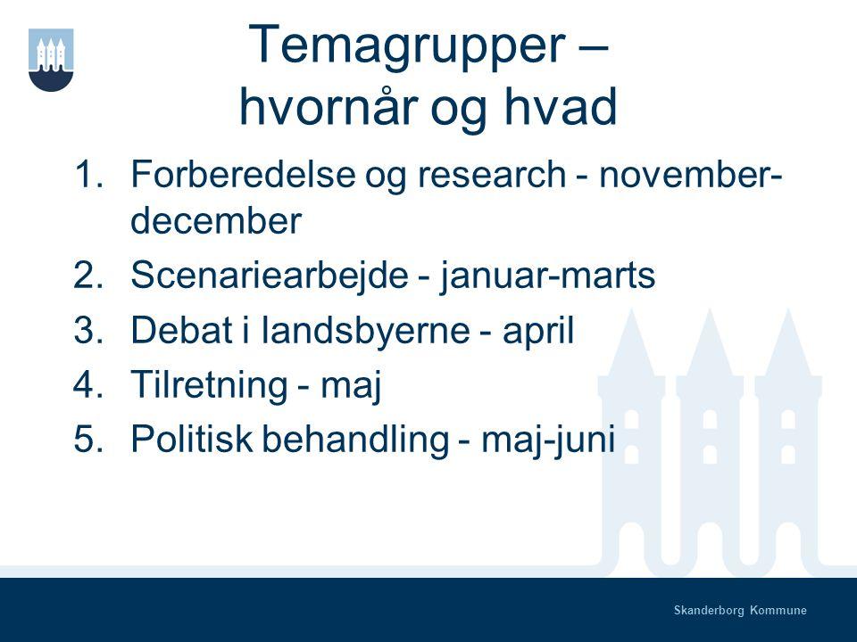Skanderborg Kommune Temagrupper - hvorfor Arbejdsdeling Ideudvikling & inspiration Fundraising Synlighed og indflydelse I gør det allerede!