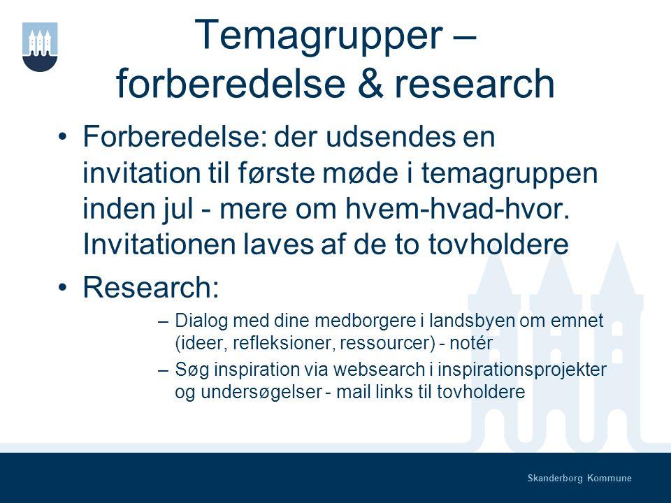 Skanderborg Kommune Temagrupper – hvornår og hvad 1.Forberedelse og research - november- december 2.Scenariearbejde - januar-marts 3.Debat i landsbyerne - april 4.Tilretning - maj 5.Politisk behandling - maj-juni
