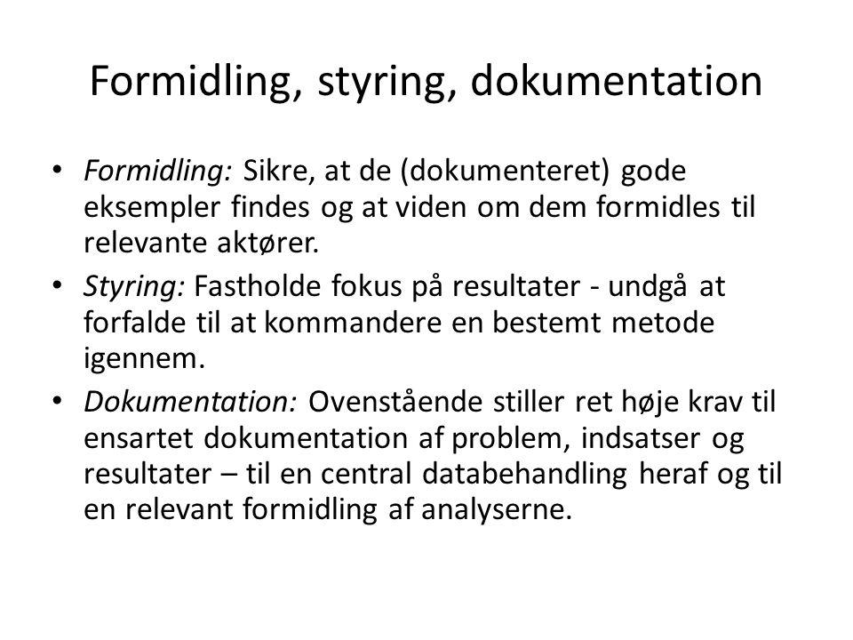 Formidling, styring, dokumentation Formidling: Sikre, at de (dokumenteret) gode eksempler findes og at viden om dem formidles til relevante aktører.