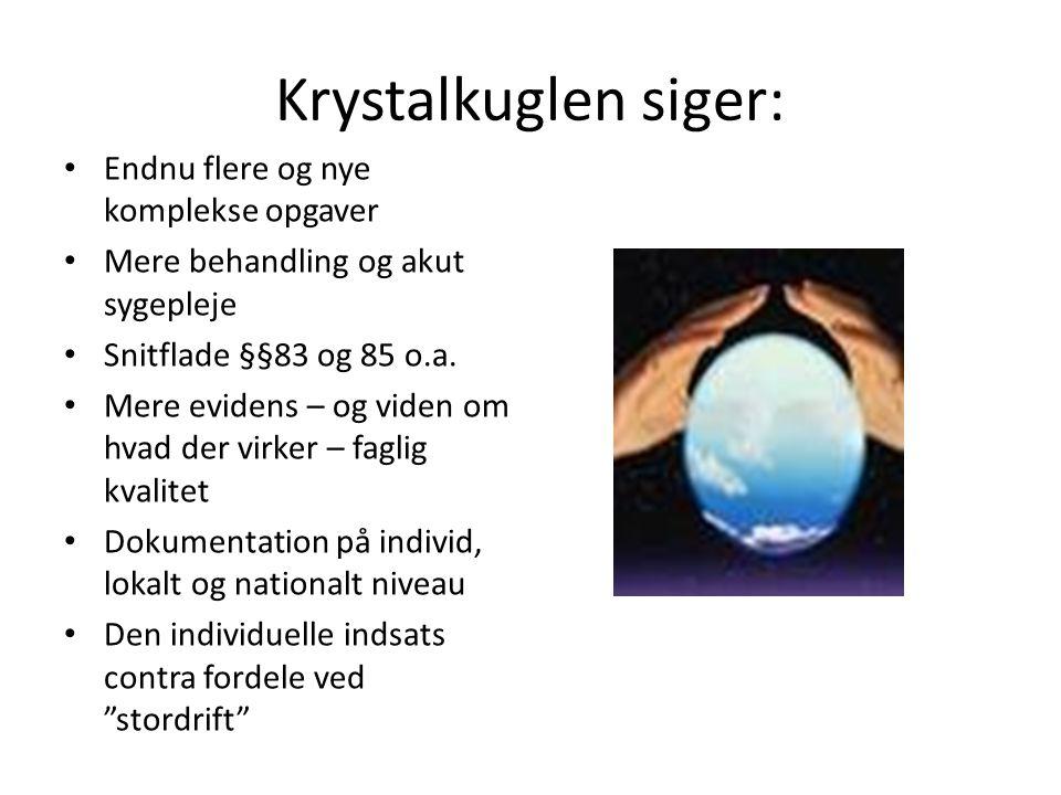 Krystalkuglen siger: Endnu flere og nye komplekse opgaver Mere behandling og akut sygepleje Snitflade §§83 og 85 o.a.