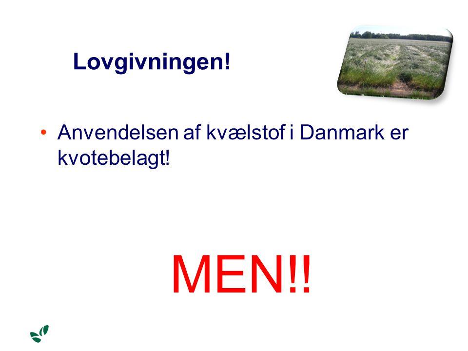 Lovgivningen! Anvendelsen af kvælstof i Danmark er kvotebelagt! MEN!!