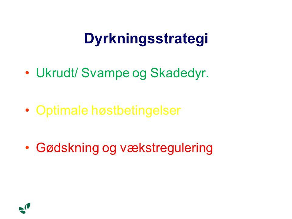Dyrkningsstrategi Ukrudt/ Svampe og Skadedyr. Optimale høstbetingelser Gødskning og vækstregulering
