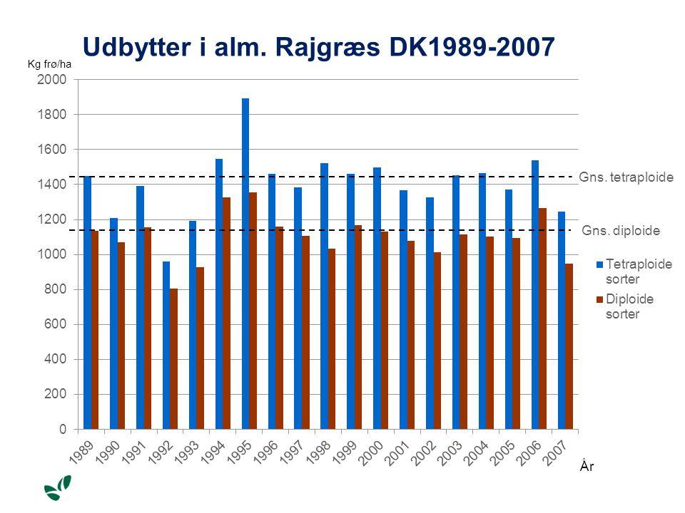 Udbytter i alm. Rajgræs DK1989-2007 Gns. tetraploide Gns. diploide Kg frø/ha År