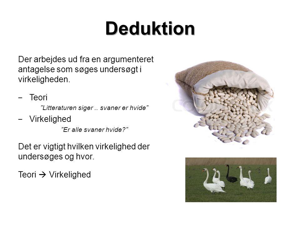 Deduktion Der arbejdes ud fra en argumenteret antagelse som søges undersøgt i virkeligheden.