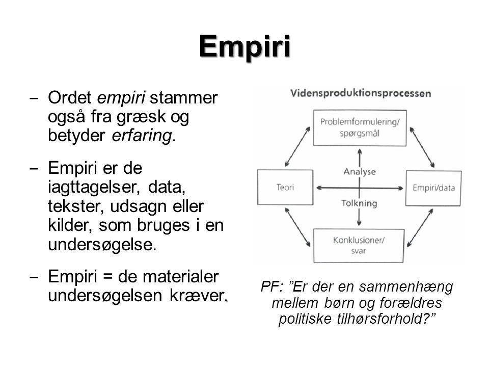 Empiri ‒ Ordet empiri stammer også fra græsk og betyder erfaring.