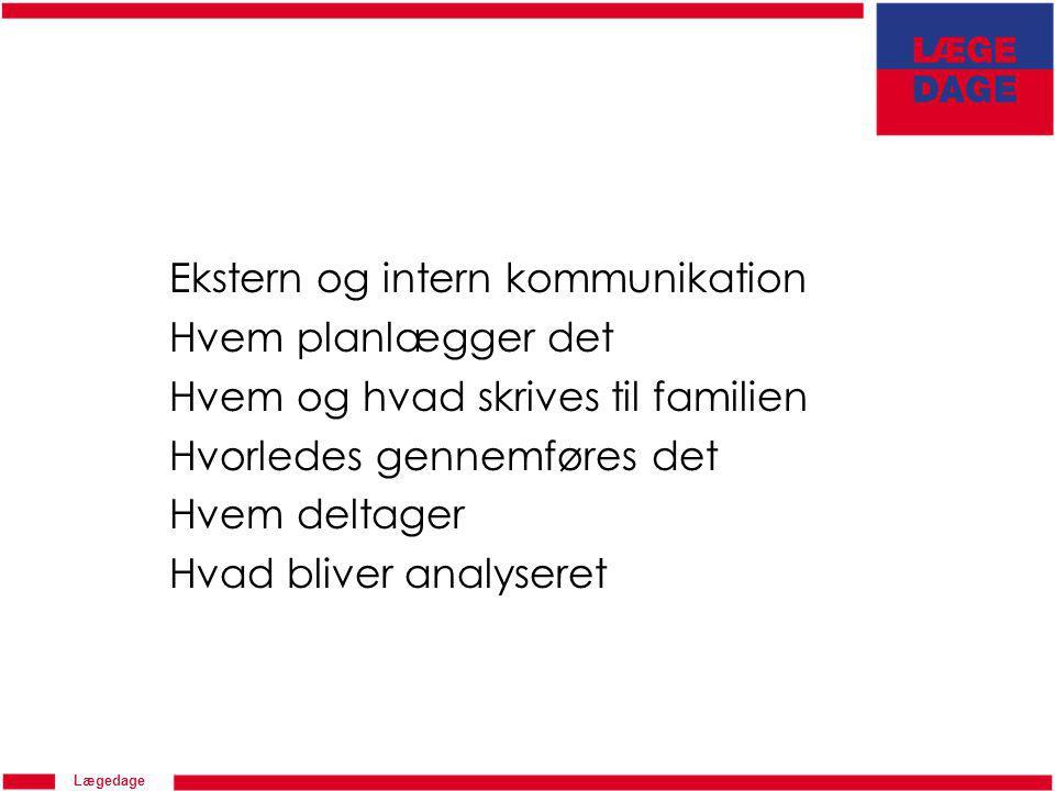 Lægedage Ekstern og intern kommunikation Hvem planlægger det Hvem og hvad skrives til familien Hvorledes gennemføres det Hvem deltager Hvad bliver analyseret