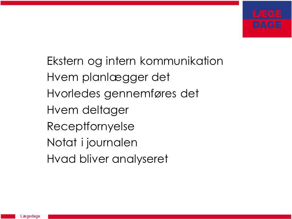 Lægedage Ekstern og intern kommunikation Hvem planlægger det Hvorledes gennemføres det Hvem deltager Receptfornyelse Notat i journalen Hvad bliver analyseret