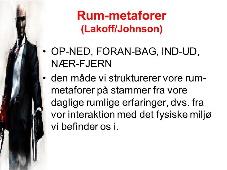 Rum-metaforer (Lakoff/Johnson) OP-NED, FORAN-BAG, IND-UD, NÆR-FJERN den måde vi strukturerer vore rum- metaforer på stammer fra vore daglige rumlige erfaringer, dvs.