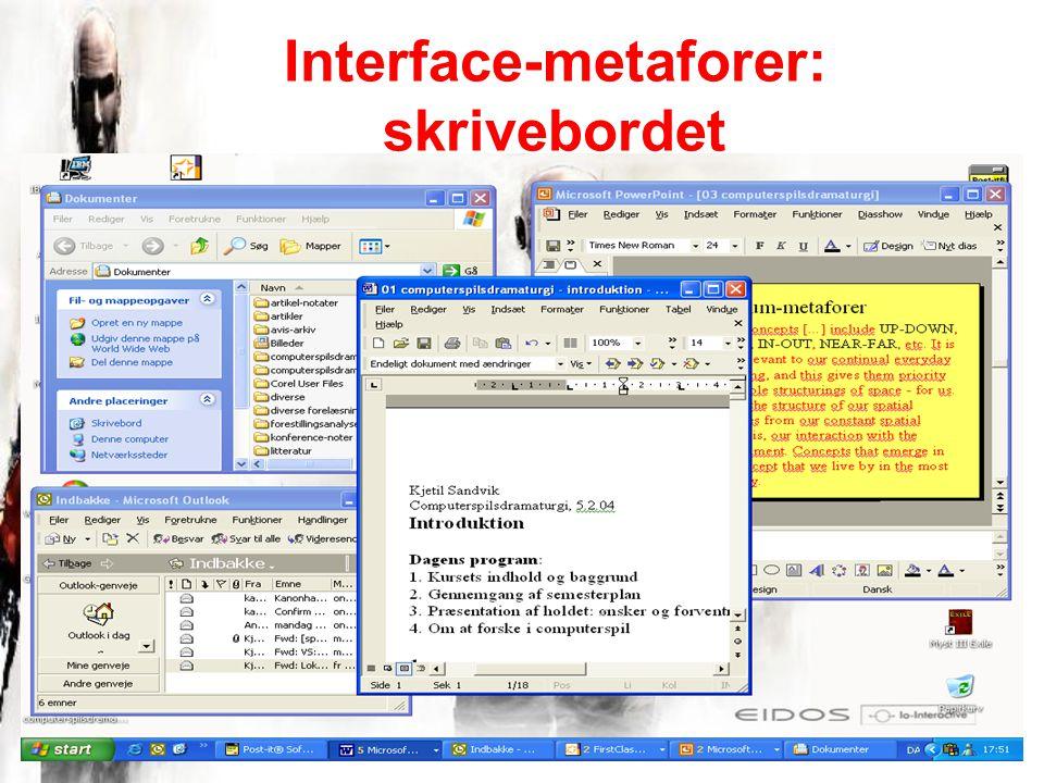 Interface-metaforer: skrivebordet
