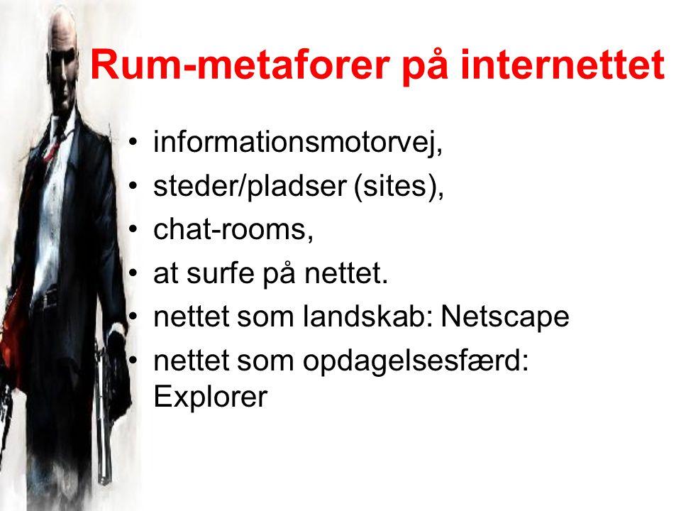 Rum-metaforer på internettet informationsmotorvej, steder/pladser (sites), chat-rooms, at surfe på nettet.