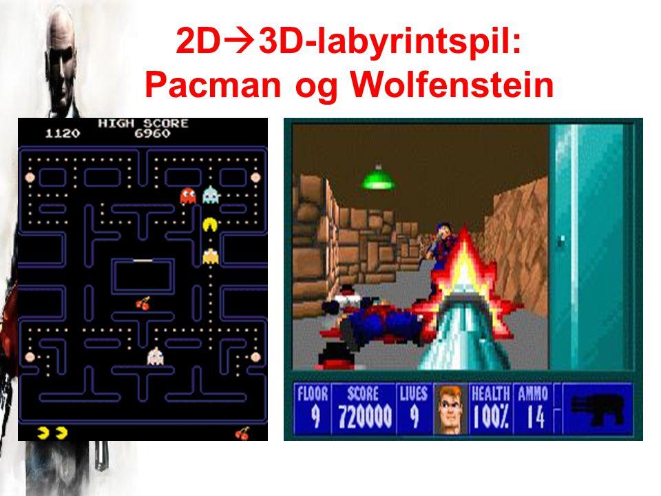 2D  3D-labyrintspil: Pacman og Wolfenstein