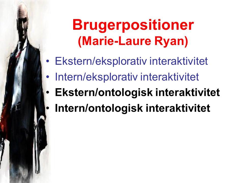 Brugerpositioner (Marie-Laure Ryan) Ekstern/eksplorativ interaktivitet Intern/eksplorativ interaktivitet Ekstern/ontologisk interaktivitet Intern/ontologisk interaktivitet