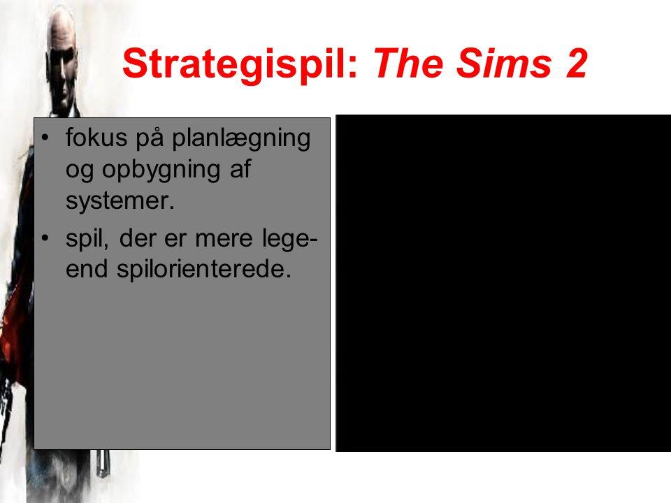 Strategispil: The Sims 2 fokus på planlægning og opbygning af systemer.