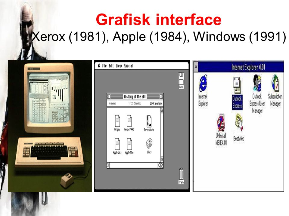 Grafisk interface Xerox (1981), Apple (1984), Windows (1991)