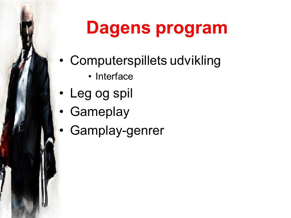 Dagens program Computerspillets udvikling Interface Leg og spil Gameplay Gamplay-genrer