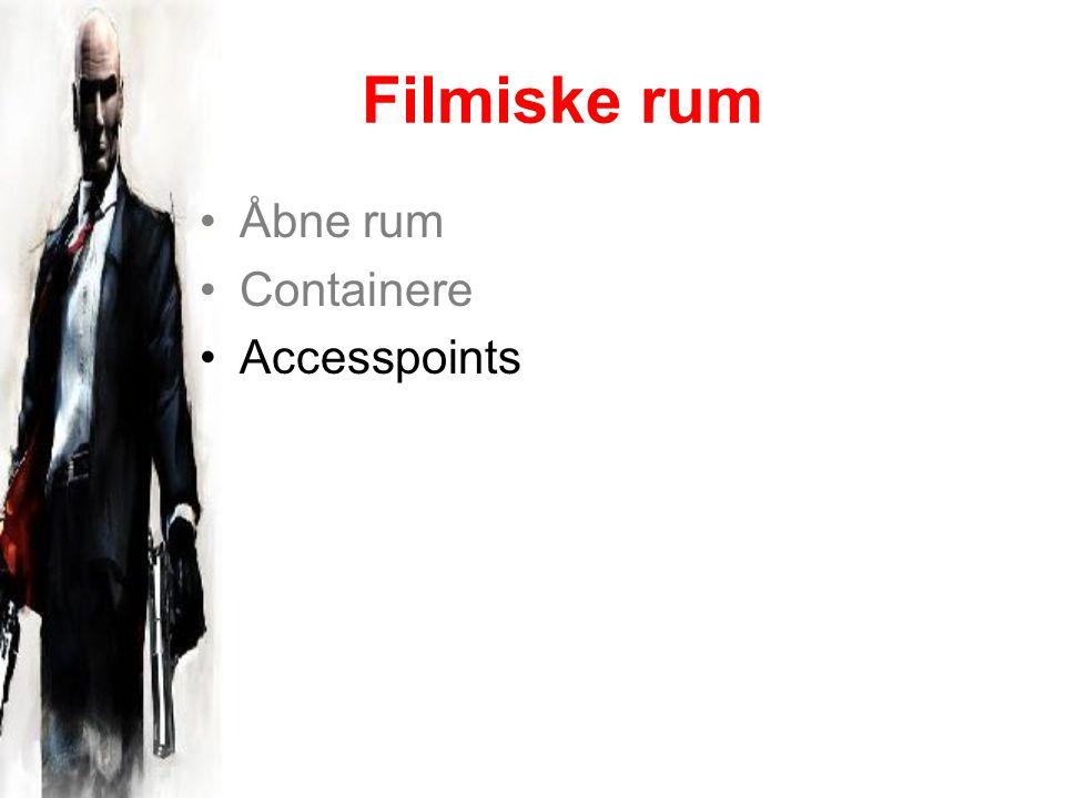 Filmiske rum Åbne rum Containere Accesspoints