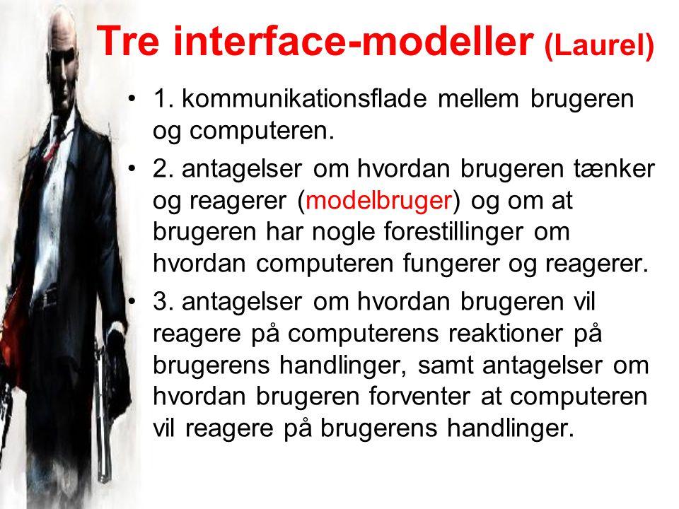 Tre interface-modeller (Laurel) 1. kommunikationsflade mellem brugeren og computeren.