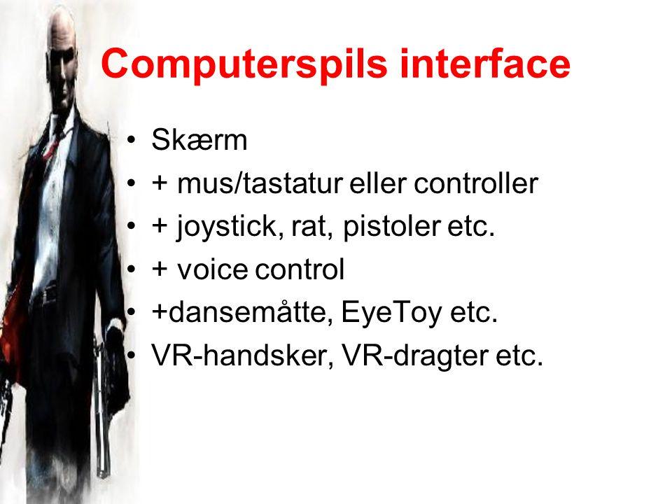 Computerspils interface Skærm + mus/tastatur eller controller + joystick, rat, pistoler etc.