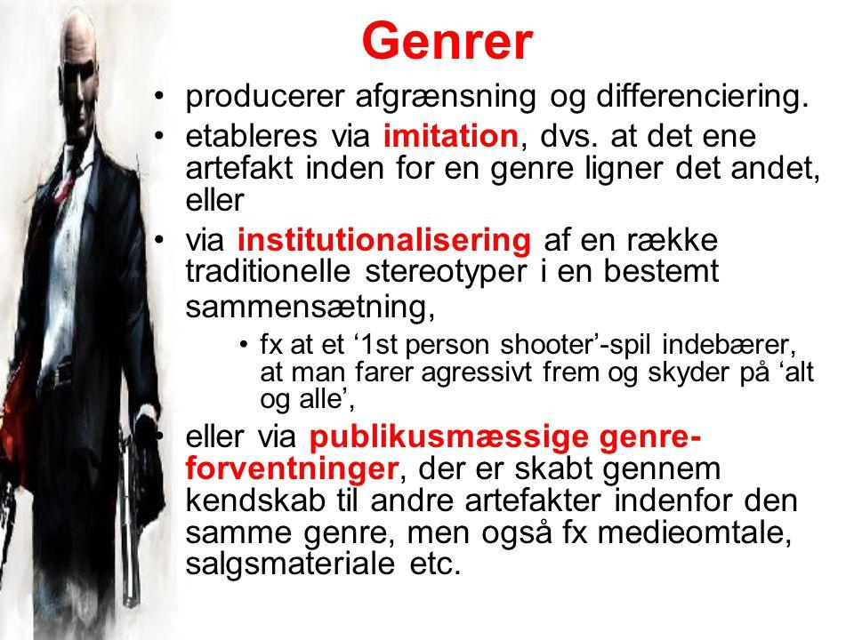 Genrer producerer afgrænsning og differenciering. etableres via imitation, dvs.