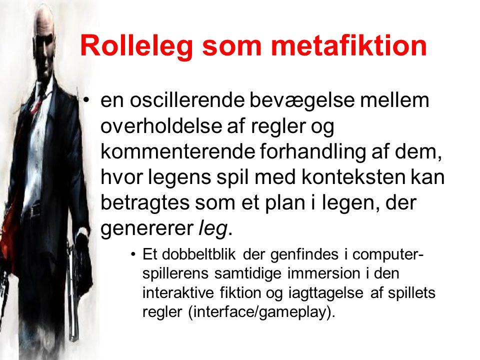 Rolleleg som metafiktion en oscillerende bevægelse mellem overholdelse af regler og kommenterende forhandling af dem, hvor legens spil med konteksten kan betragtes som et plan i legen, der genererer leg.