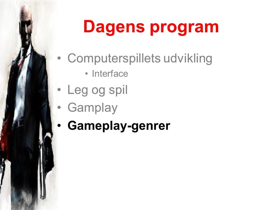 Dagens program Computerspillets udvikling Interface Leg og spil Gamplay Gameplay-genrer