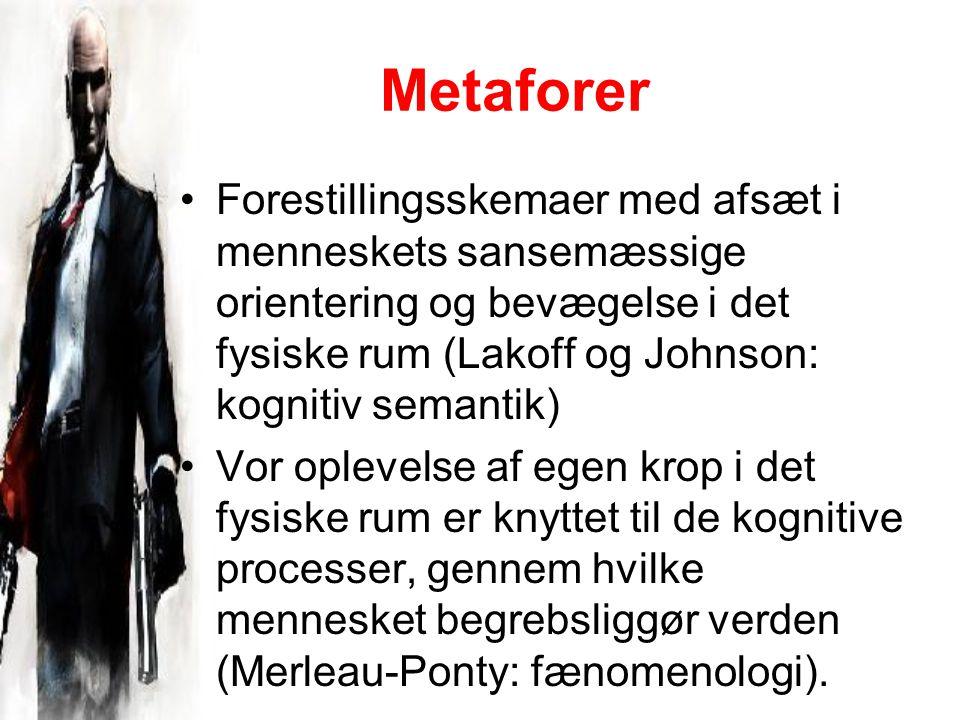 Metaforer Forestillingsskemaer med afsæt i menneskets sansemæssige orientering og bevægelse i det fysiske rum (Lakoff og Johnson: kognitiv semantik) Vor oplevelse af egen krop i det fysiske rum er knyttet til de kognitive processer, gennem hvilke mennesket begrebsliggør verden (Merleau-Ponty: fænomenologi).