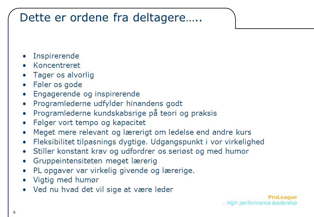 9 ProLeague - High performance leadership Dette er ordene fra deltagere…..