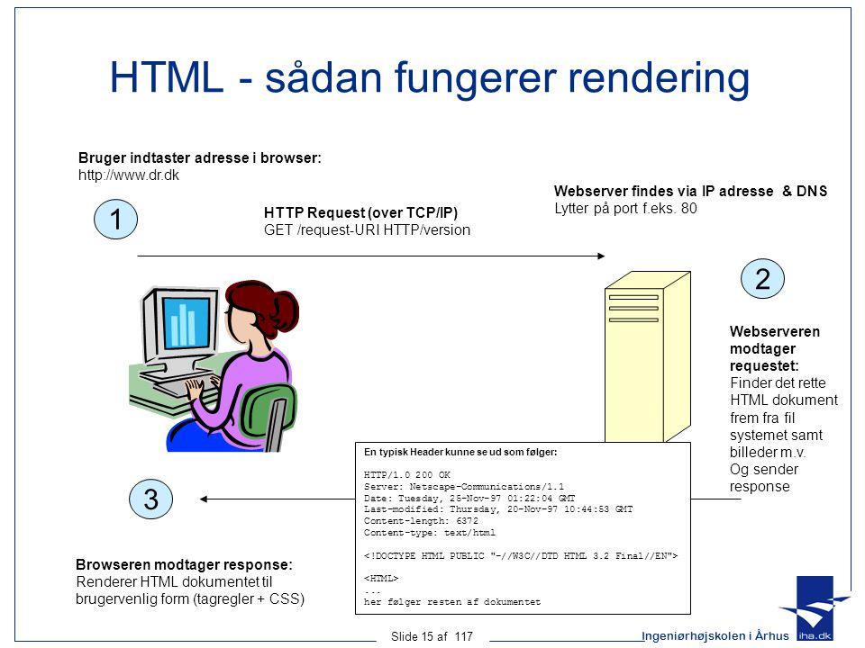 Ingeniørhøjskolen i Århus Slide 15 af 117 HTML - sådan fungerer rendering 1 HTTP Request (over TCP/IP) GET /request-URI HTTP/version Bruger indtaster adresse i browser: http://www.dr.dk 2 Webserveren modtager requestet: Finder det rette HTML dokument frem fra fil systemet samt billeder m.v.