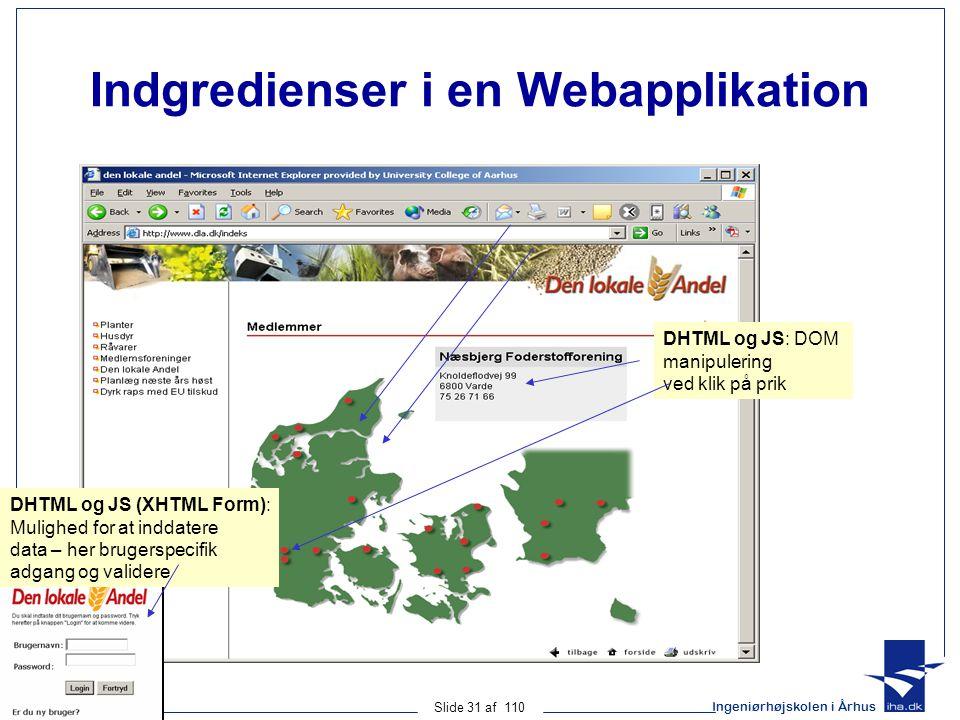 Ingeniørhøjskolen i Århus Slide 31 af 110 Indgredienser i en Webapplikation DHTML og JS: DOM manipulering ved klik på prik DHTML og JS (XHTML Form): Mulighed for at inddatere data – her brugerspecifik adgang og validere