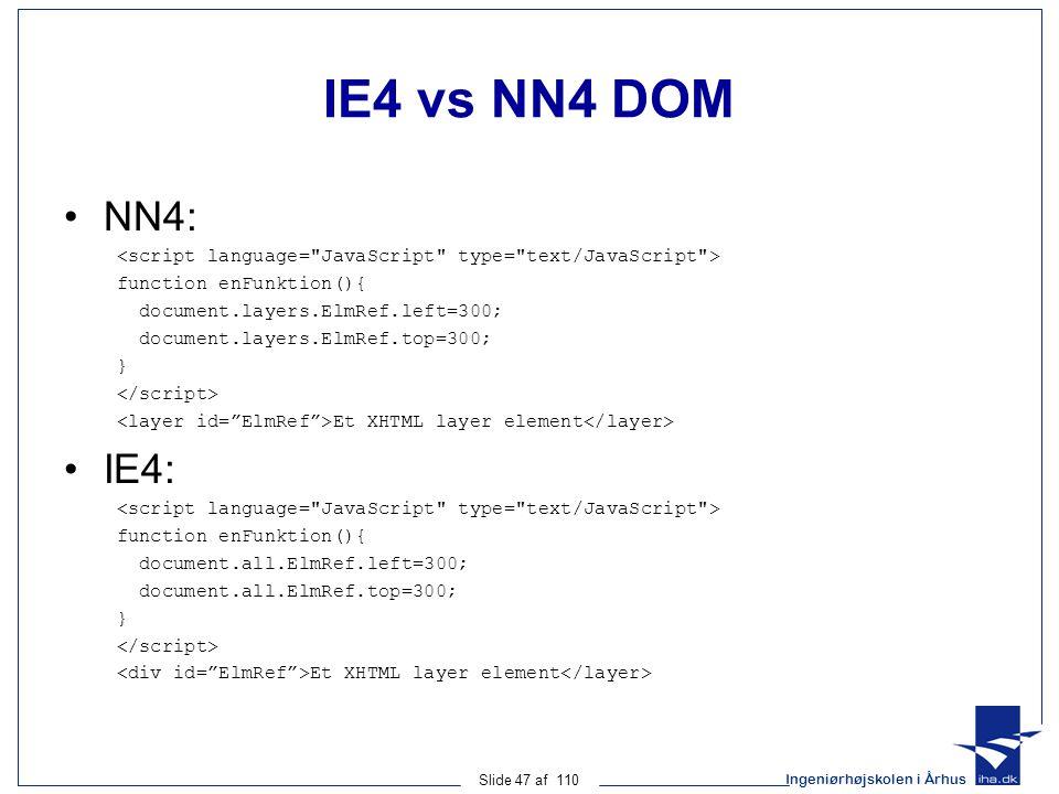 Ingeniørhøjskolen i Århus Slide 47 af 110 IE4 vs NN4 DOM NN4: function enFunktion(){ document.layers.ElmRef.left=300; document.layers.ElmRef.top=300; } Et XHTML layer element IE4: function enFunktion(){ document.all.ElmRef.left=300; document.all.ElmRef.top=300; } Et XHTML layer element