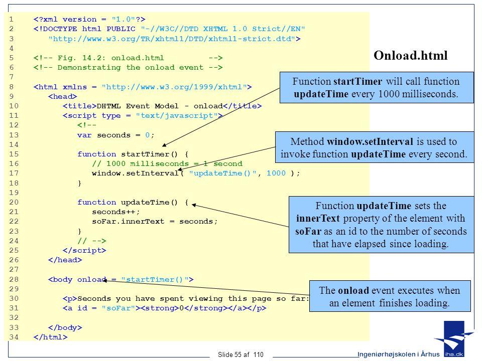 Ingeniørhøjskolen i Århus Slide 55 af 110 Onload.html 1 2 <!DOCTYPE html PUBLIC -//W3C//DTD XHTML 1.0 Strict//EN 3 http://www.w3.org/TR/xhtml1/DTD/xhtml1-strict.dtd > 4 5 6 7 8 9 10 DHTML Event Model - onload 11 12 <!-- 13 var seconds = 0; 14 15 function startTimer() { 16 // 1000 milliseconds = 1 second 17 window.setInterval( updateTime() , 1000 ); 18 } 19 20 function updateTime() { 21 seconds++; 22 soFar.innerText = seconds; 23 } 24 // --> 25 26 27 28 29 30 Seconds you have spent viewing this page so far: 31 0 32 33 34 Function startTimer will call function updateTime every 1000 milliseconds.