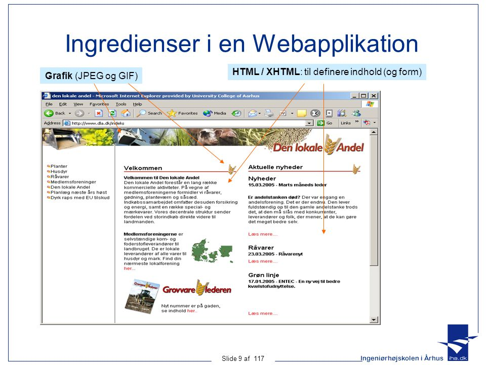 Ingeniørhøjskolen i Århus Slide 9 af 117 Ingredienser i en Webapplikation Grafik (JPEG og GIF) HTML / XHTML: til definere indhold (og form)