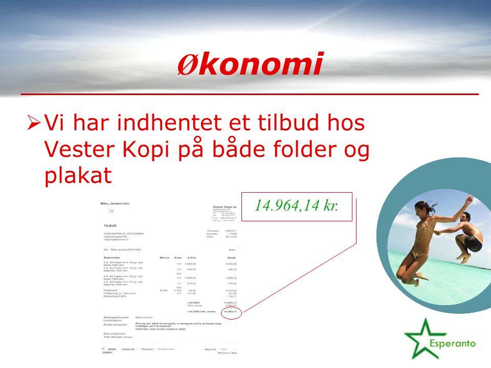 Ø konomi  Vi har indhentet et tilbud hos Vester Kopi på både folder og plakat 14.964,14 kr.