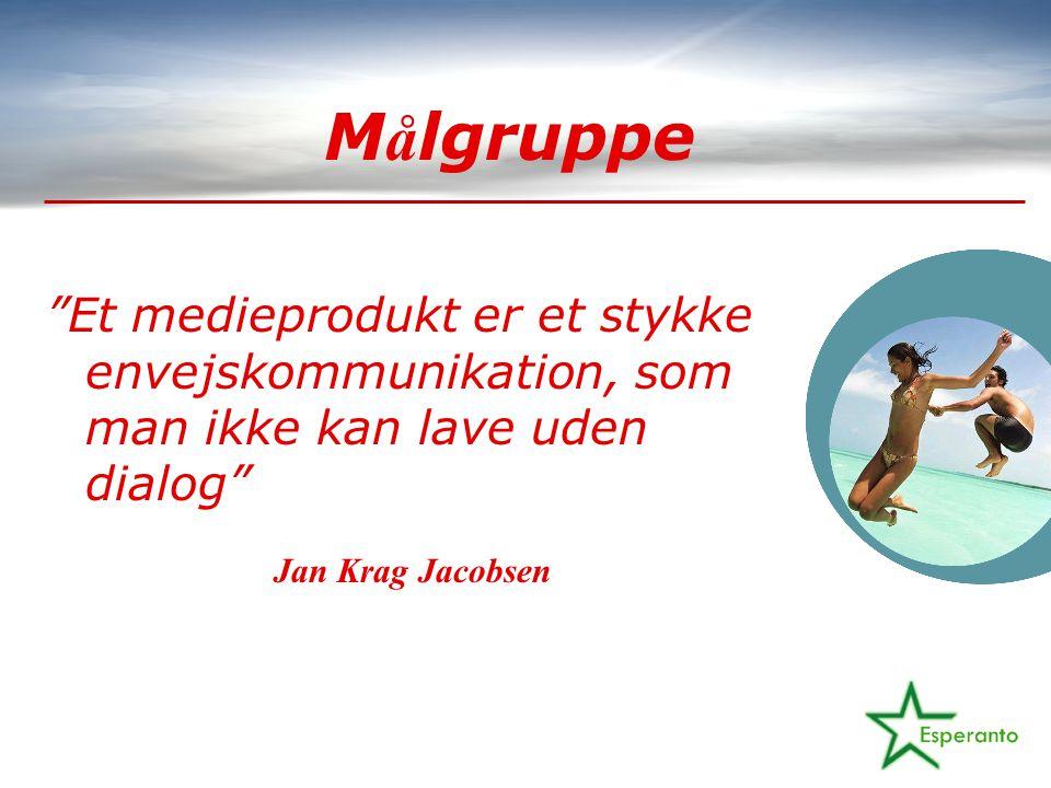M å lgruppe Et medieprodukt er et stykke envejskommunikation, som man ikke kan lave uden dialog Jan Krag Jacobsen