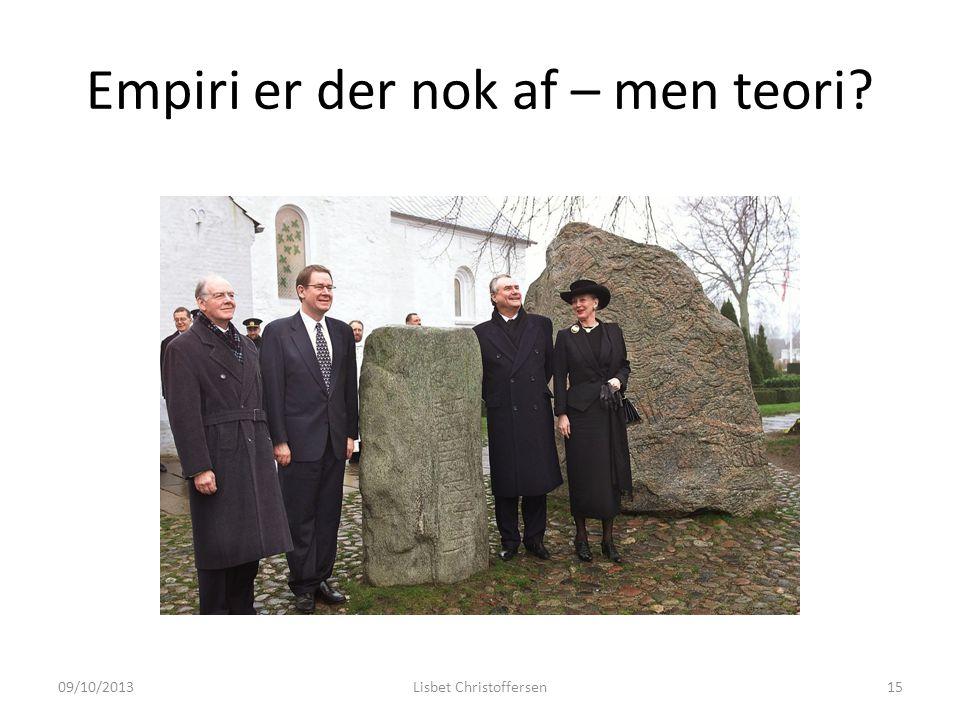 Empiri er der nok af – men teori 09/10/2013Lisbet Christoffersen15