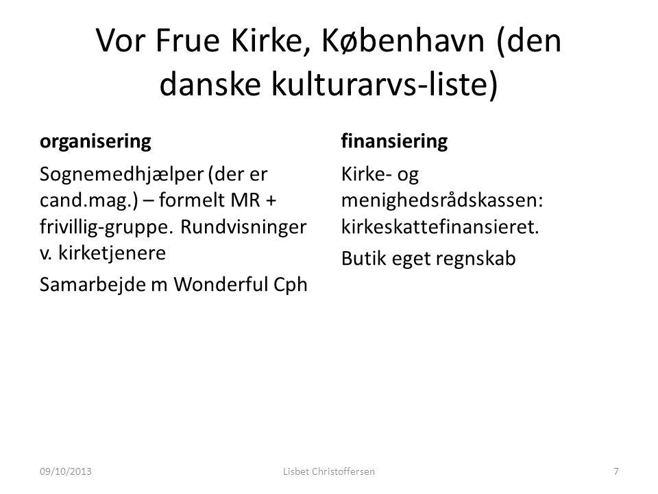 Vor Frue Kirke, København (den danske kulturarvs-liste) organisering Sognemedhjælper (der er cand.mag.) – formelt MR + frivillig-gruppe.