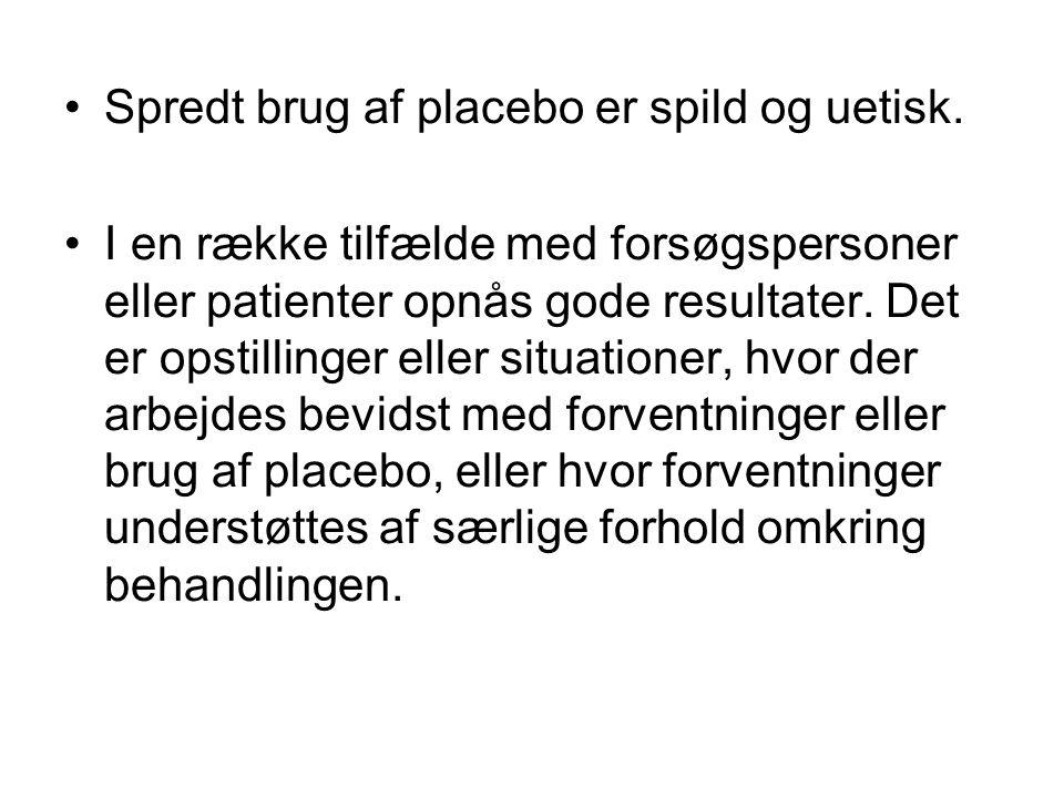 Spredt brug af placebo er spild og uetisk.