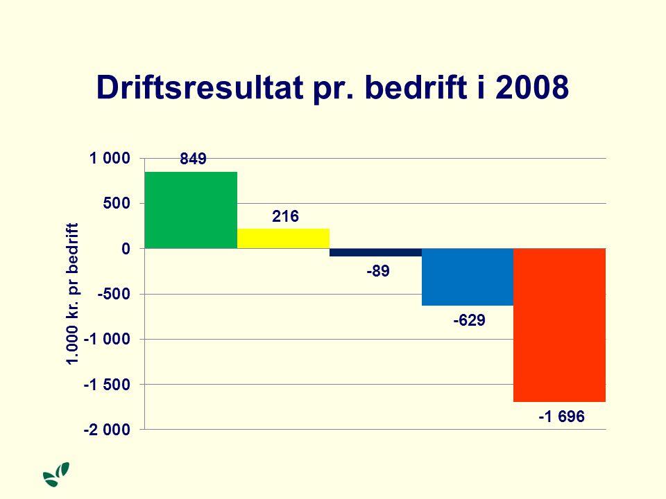 Driftsresultat pr. bedrift i 2008