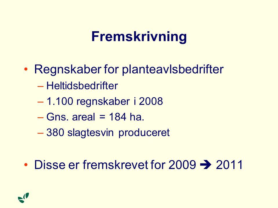 Fremskrivning Regnskaber for planteavlsbedrifter –Heltidsbedrifter –1.100 regnskaber i 2008 –Gns.