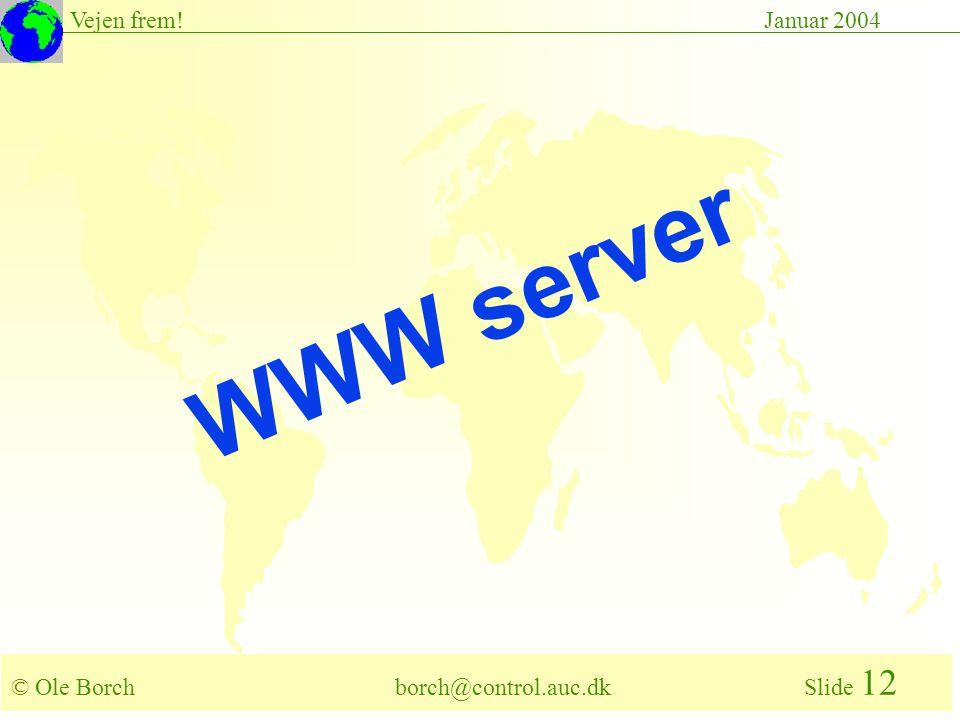© Ole Borch borch@control.auc.dk Slide 12 Vejen frem!Januar 2004 WWW server