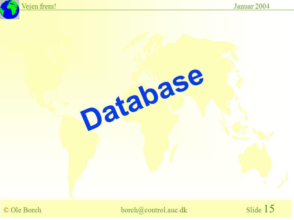 © Ole Borch borch@control.auc.dk Slide 15 Vejen frem!Januar 2004 Database